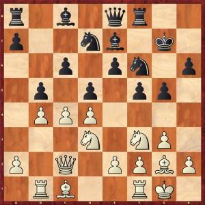 Stellung nach 13... b7-b5