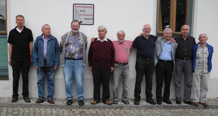 Von links nach rechts: Christian Clemens, Juri Ljubarskij, Matias Jolowicz, Dieter Jentsch, Reinhard Piel, Gerhard Kaiser, Gerhard Streich, Alexander Schneider und Mihail Davydov